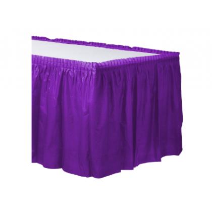 """14' x 29"""" Plastic Solid Table Skirt - Purple"""