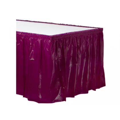 "14' x 29"" Plastic Solid Table Skirt - Berry"