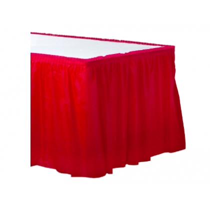 "14' x 29"" Plastic Solid Table Skirt - Apple Red"