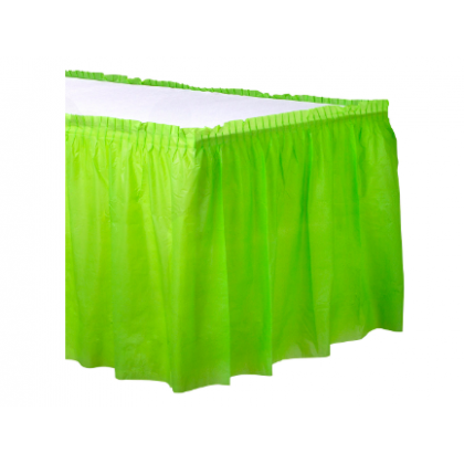 "14' x 29"" Plastic Solid Table Skirt - Kiwi"