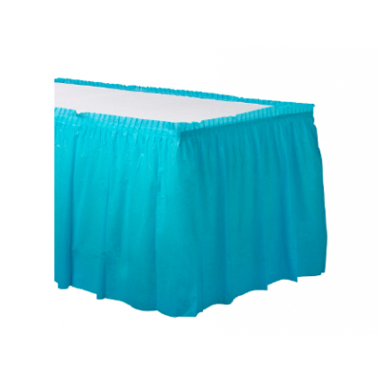 "14' x 29"" Plastic Solid Table Skirt - Caribbean Blue"