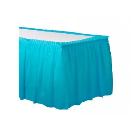 "14' x 29"" Plastic Solid Table Skirt - Caribbean Blue"