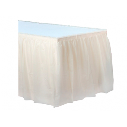 "14' x 29"" Plastic Solid Table Skirt - Vanilla Creme"
