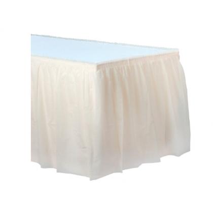 "14' x 29"" Plastic Solid Table Skirt - Vanilla Creme"