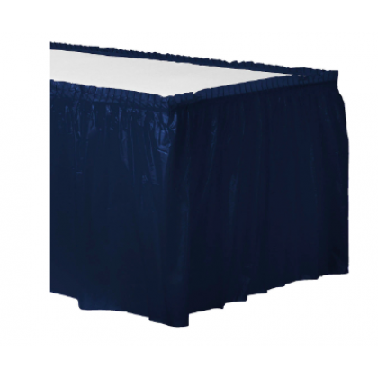 "14' x 29"" Plastic Solid Table Skirt - Navy Flag Blue"