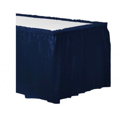 "14' x 29"" Plastic Solid Table Skirt - Navy Flag Blue"