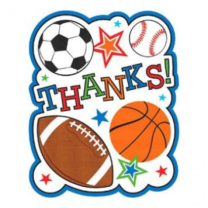 Sports Party Postcard Thank You Cards