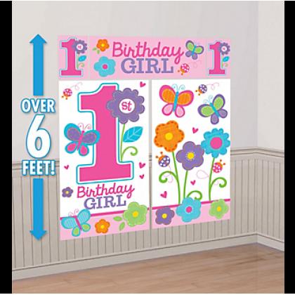 Sweet Birthday Girl Scene Setters® Wall Decorating Kit - Plastic