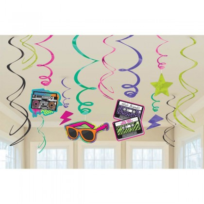 Totally 80's Value Pack Foil Swirl Decorations
