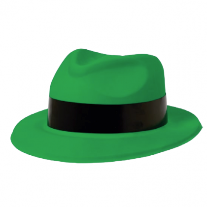 Totally 80's Fedora Green w/Black Band - Vac Form