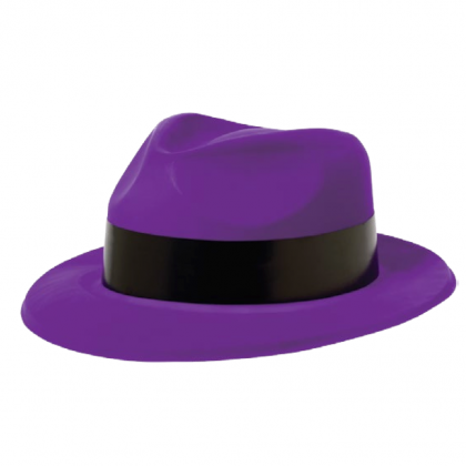 Totally 80's Fedora Purple w/Black Band - Vac Form