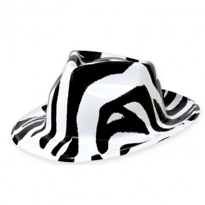 Totally 80's Zebra Fedora Black & White - Vac Form