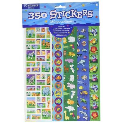 """10 1/4"""" x 3"""" Animals Sticker Strip Value Pack"""