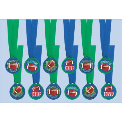 """Plastic Medal, 1 1/2""""; Ribbon, 13"""" Football Award Medals"""