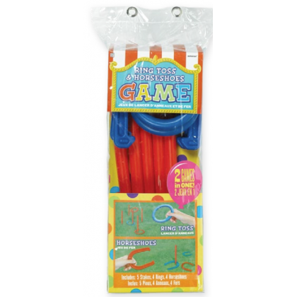 Ring Toss & Horseshoes Game Combo Set