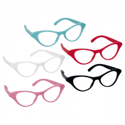 "11"" x 6"" (Pkg. Size) Classic 50's Cat Style Glasses"