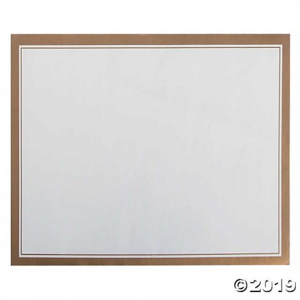 """11""""x16"""" Placemats Paper - White w/Gold Trim"""