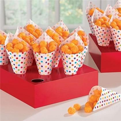 Paper Minis Snack Cones w/Tray - Rainbow