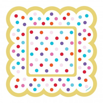 Paper Minis Scalloped Square Plates - Rainbow