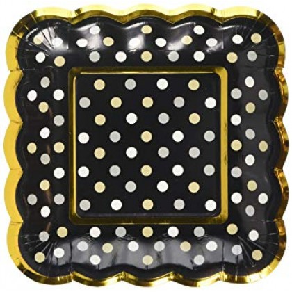 Paper Minis Scalloped Square Plates - Black