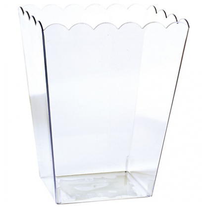 "6"" Plastic Scalloped Container - Medium - Clear"