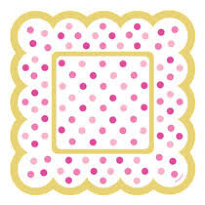 Paper Minis Scalloped Square Plates - Pink