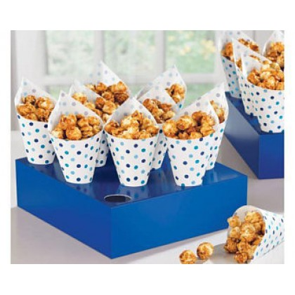 Paper Minis Snack Cones w/Tray - Blue