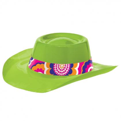 "3 1/2""H x 11 1/16""W x 12 15/16""D Feeling Groovy 60's Lime Cowboy Hat - Vac Form"