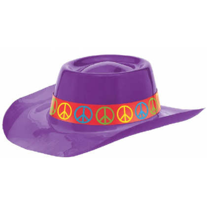 "3 1/2""H x 11 1/16""W x 1 15/16""D Feeling Groovy 60's Purple Cowboy Hat - Vac Form"