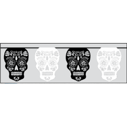 Day of The Dead Black & Bone Flag Banner - Paper