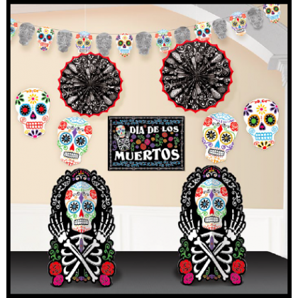 Day of The Dead Black & Bone Room Decorating Kit