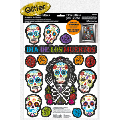 Day of The Dead Window Decorations - Glitter Vinyl
