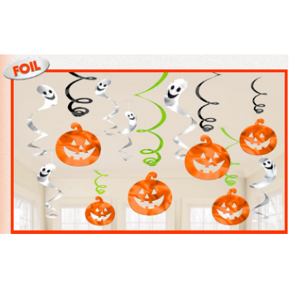 Family Friendly Pumpkins Value Pack Foil Swirl Decorations