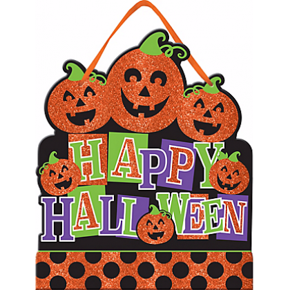 Family Friendly Happy Halloween Medium Sign MDF w/ Glitter & Ribbon Hanger