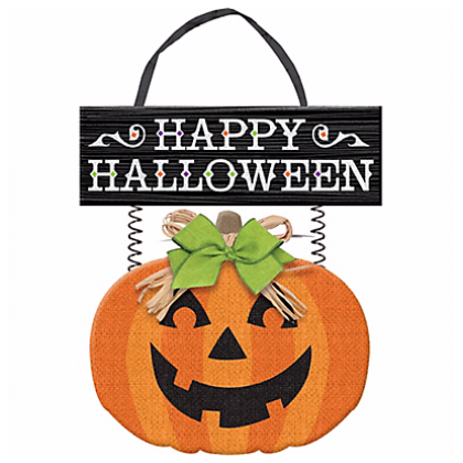 Family Friendly Jack-O-Lantern Deluxe Sign MDF w/Glitter, Burlap & Ribbon Hanger