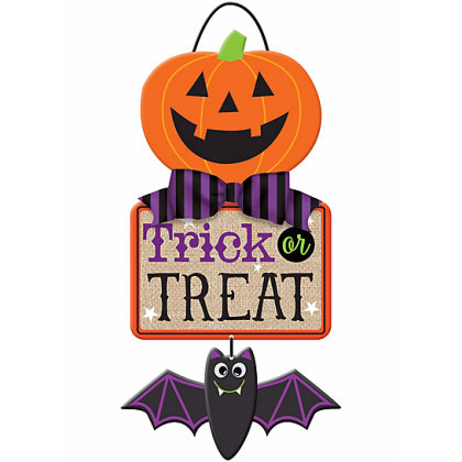 Family Friendly Happy Halloween Specialty Triple Sign MDF w/ Burlap & Bow