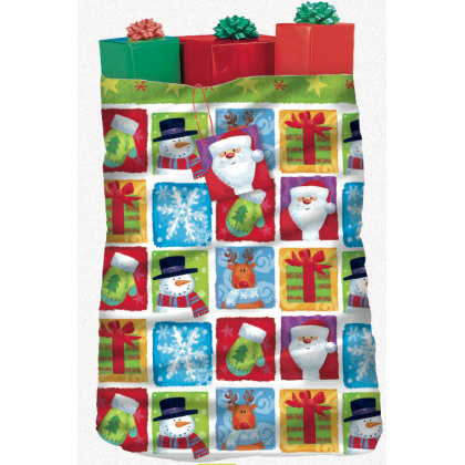 "44"" x 36"" Holiday Friends Giant Plastic Gift Sacks"