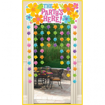 Hibiscus Door Curtain Paper Header with Fabric Flower Attachments