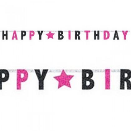 """8' x 6 1/2"""" Letter Banner - Prismatic - Black & Pink"""