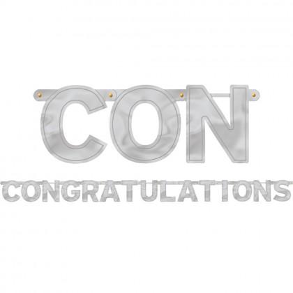 """6 3/4' x 6 1/4"""" Congratulations Large Foil Letter Banner"""