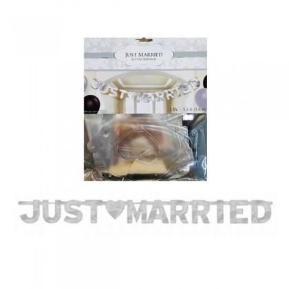 5 1/2' x 6 1/4' Just Married Large Foil Letter Banner