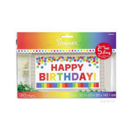 "65"" x 33 1/2"" Giant Party Sign - Plastic - Rainbow"