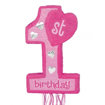 1st Birthday-Pink Convetional Pull Piñata