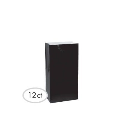 """10""""H x 5 1/4""""W x 3""""D Packaged Paper Bags BLACK (Large)"""