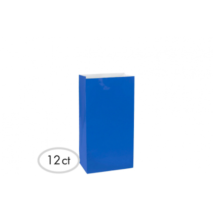"10""H x 5 1/4""W x 3""D Packaged Paper Bags BRIGHT ROYAL BLUE (Large)"