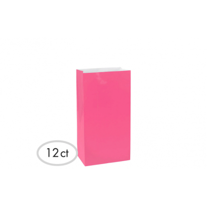 "10""H x 5 1/4""W x 3""D Packaged Paper Bags BRIGHT PINK (Large)"