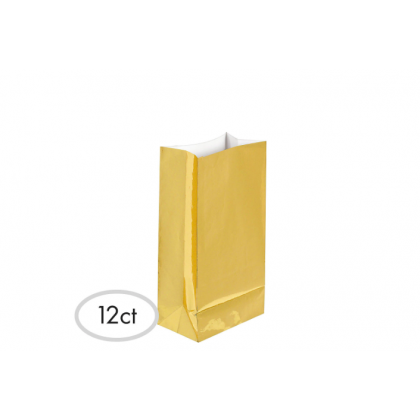 """10""""H x 5 1/4""""W x 3""""D Packaged Paper Bags GOLD (Large)"""