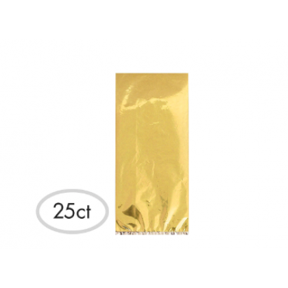 "11 1/2""H x 5""W x 3 1/4""D Cello Party Bags GOLD (Large)"