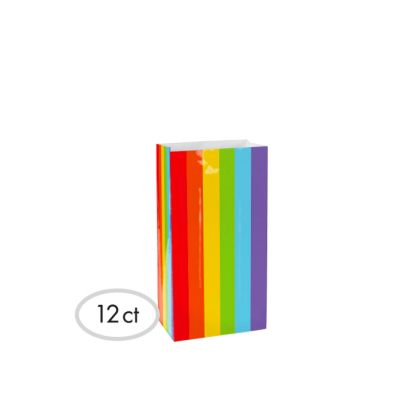 "10""H x 5 1/4""W x 3""D Packaged Paper Bags RAINBOW (Large)"