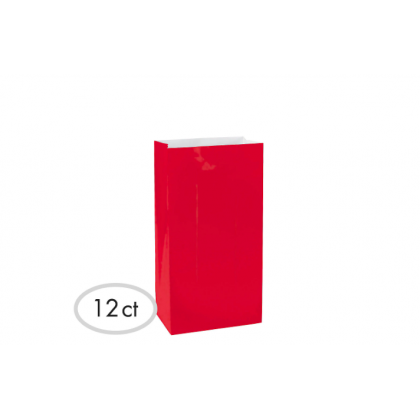 """10""""H x 5 1/4""""W x 3""""D Packaged Paper Bags APPLE RED (Large)"""
